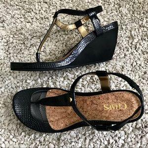 Chaps Black Wedge Heel Sandals